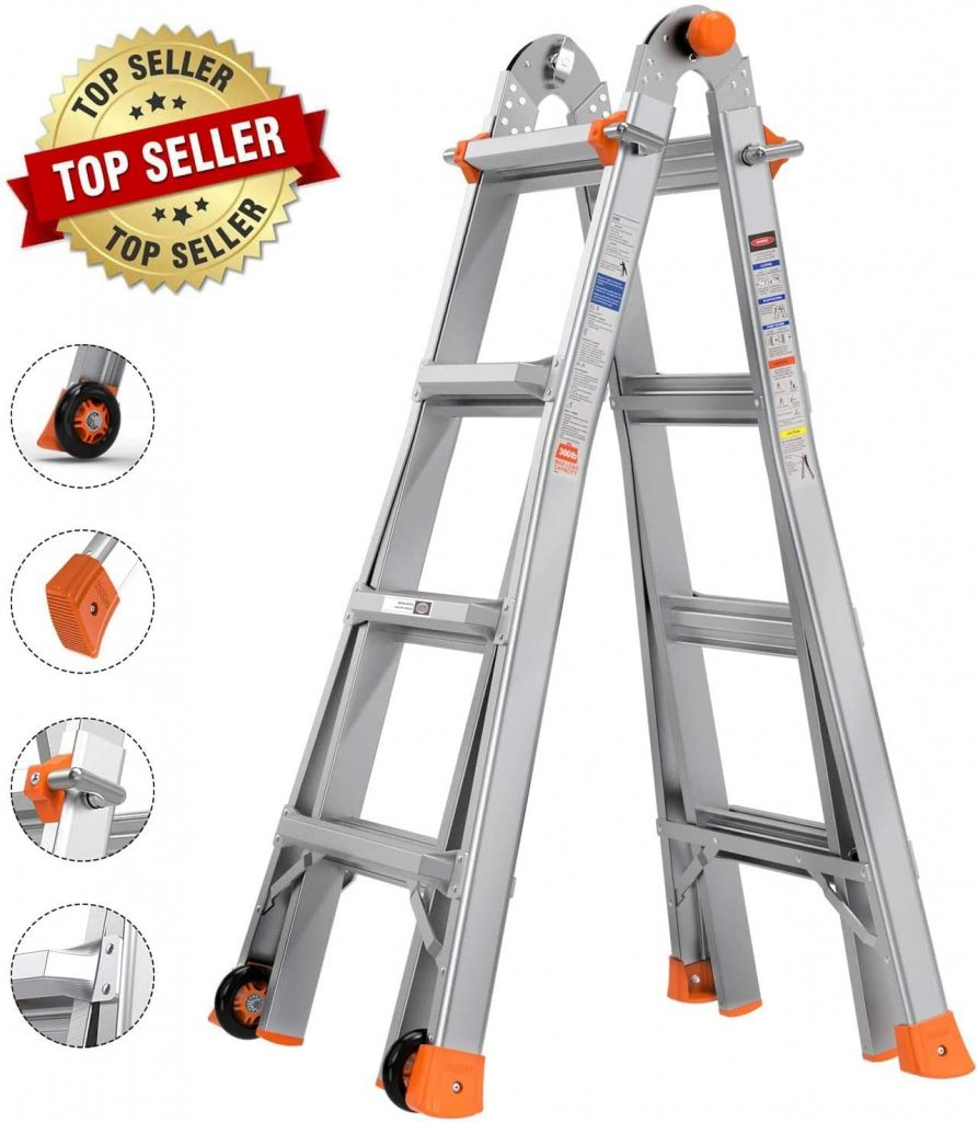 TACKLIFE 17 Feet Telescoping Ladder