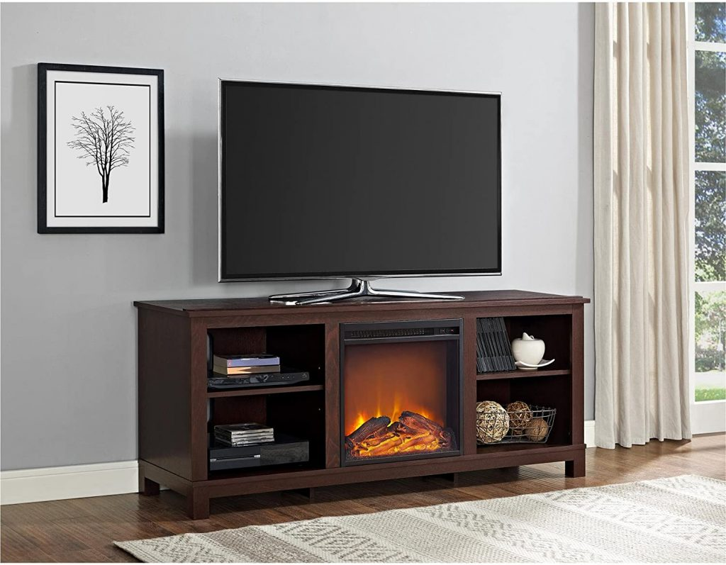 Ameriwood Home Edgewood TV Console with Fireplace 60In