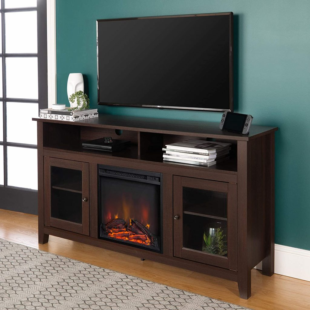 Walker Edison Tall Rustic Wood Fireplace TV Stand