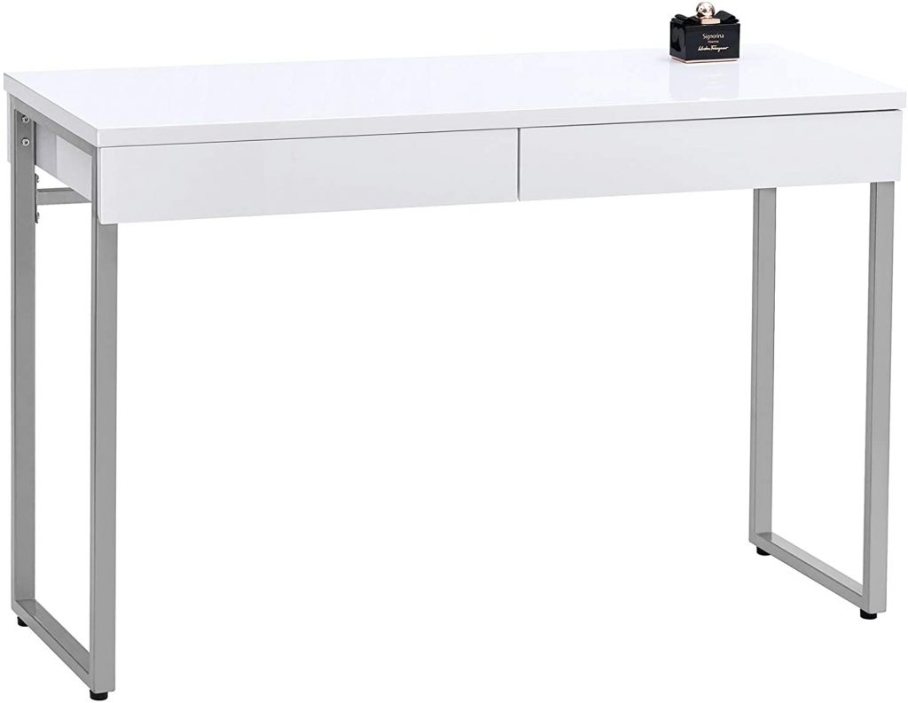 GreenForest Vanity Desk Glossy White Console Table