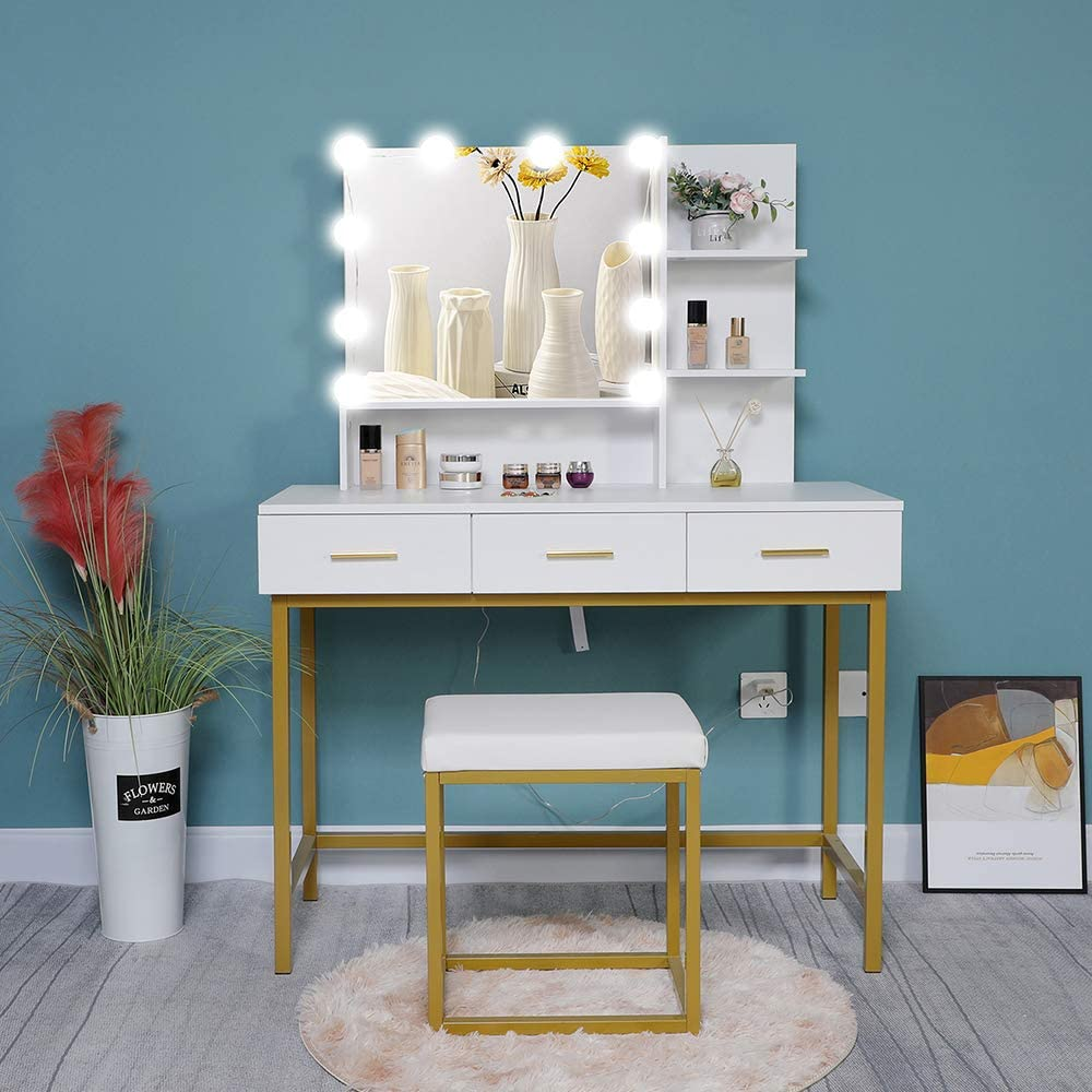 Iwell Large Vanity Set with 10 LEDs Lighted Mirror