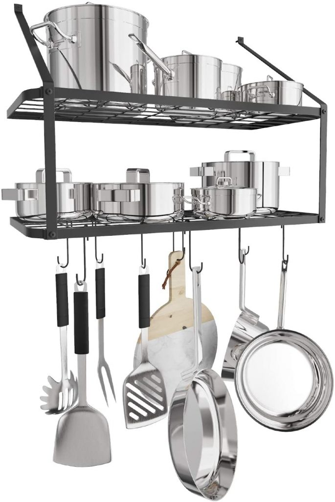 X Home 2 Tier Wall Mounted Pot Hanging Rack