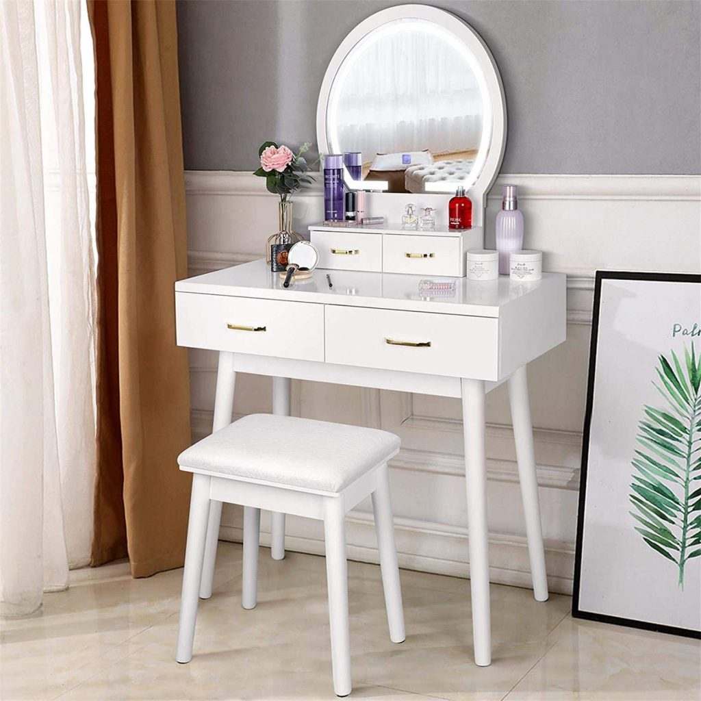 amzdeal Vanity Set with Lighted Mirror
