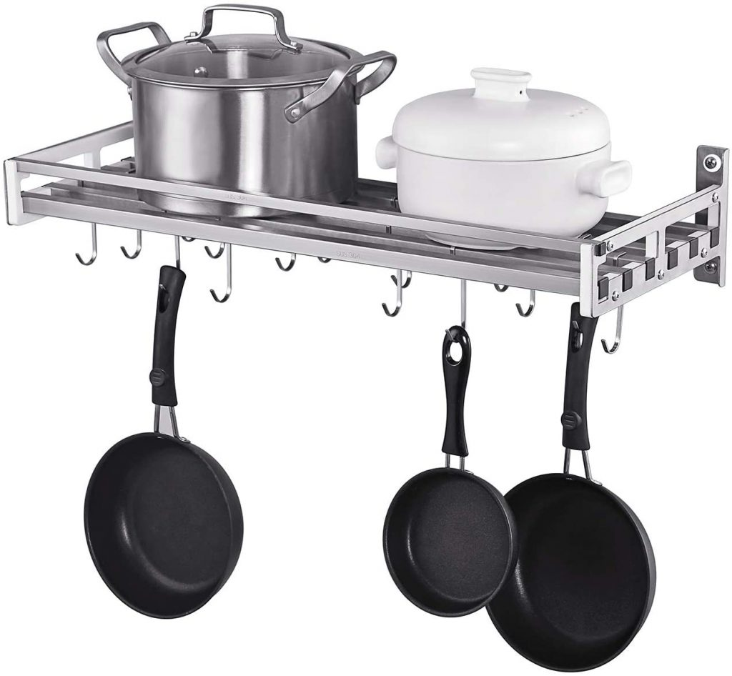 istBoom Wall Mounted Pot Holder Pan Organizer with 16 Hooks